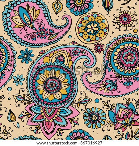 Seamless pattern based on traditional Asian elements Paisley. Pastel colors: pale pink and blue. - stock photo