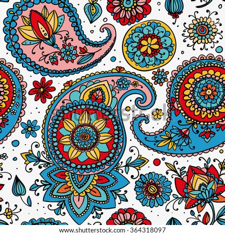 Seamless pattern based on traditional Asian elements Paisley. Red, blue, pink on a light background. - stock photo