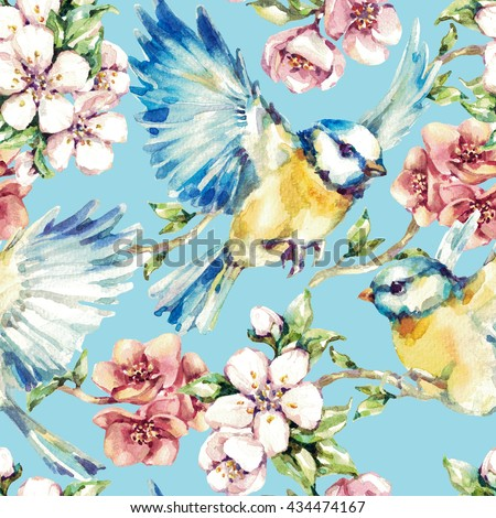 Seamless pattern. Beautiful watercolor tit birds in the branches of cherry blossoms. Light yellow background - stock photo