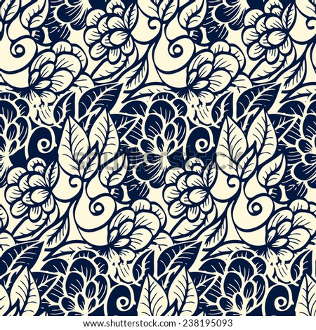 Seamless pattern - black and white flower background. - stock photo