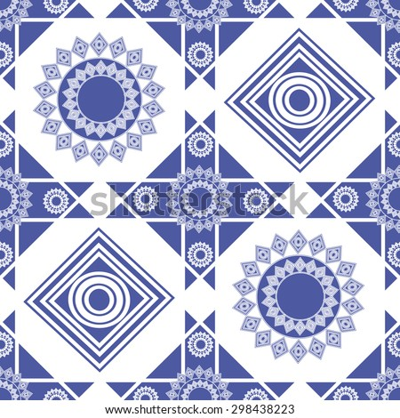 seamless pattern, blue figures, circles, squares - stock photo