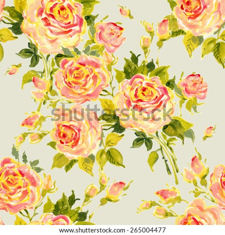 Seamless pattern bouquet of bright yellow  roses. Beautiful pattern of motif handmade paint on paper. Vintage decor. Making any printed products.  Original background for design and decor - stock photo