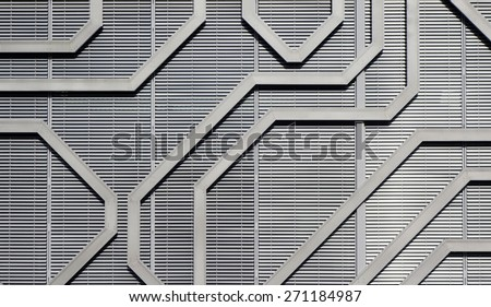 Seamless pattern, bright geometric pattern, abstract pattern with stripes. Close up of an exterior industrial factory built in steel and aluminum - stock photo
