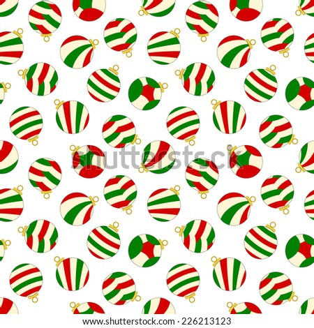 Seamless Pattern - Christmas theme seamless pattern on white background with red, green and yellow christmas ornaments. Vector version also in portfolio. - stock photo