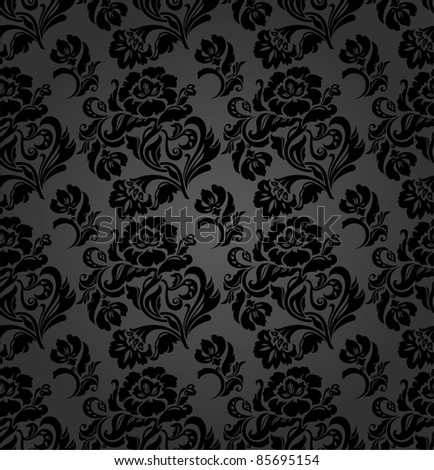 Seamless pattern, curtains floral - stock photo