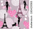 Seamless pattern - Effel Tower, hearts with calligraphic text I Love Shopping, girls silhouettes with shopping bags - Background for fashion or retail design. Raster version - stock photo