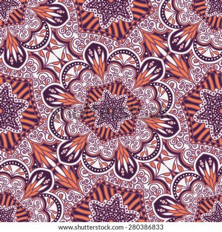 Seamless pattern ethnic style. Vintage decorative texture. Indian, arabic motive. - stock photo