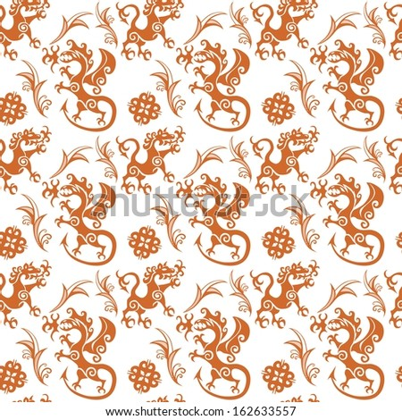 Seamless pattern in the style of early medieval with fighting beasts. - stock photo