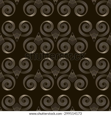 Seamless pattern monochrome art deco ornament with stylized geometric elements background. Repeating texture modern graphic design - stock photo