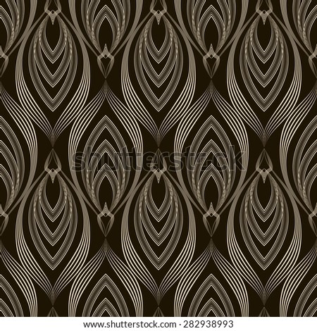 Seamless pattern monochrome ornament with stylized geometric elements background. Repeating texture modern graphic design  - stock photo
