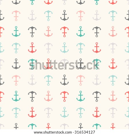 Seamless  pattern of anchor shapes. Endless texture for printing onto fabric, web page background and paper or invitation. Abstract retro nautical style. Retro colors. - stock photo