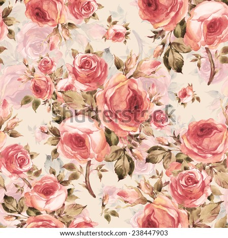 Seamless pattern of beautiful bouquets of roses Y - stock photo