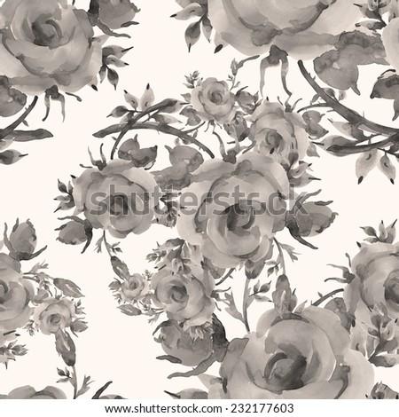 Seamless pattern of beautiful roses-2 - stock photo