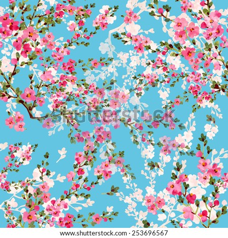 Seamless pattern of bright blooms - stock photo