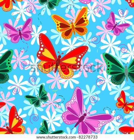 Seamless pattern of colorful flying butterflies with pastel color flowers over sky blue background, tropical look. - stock photo