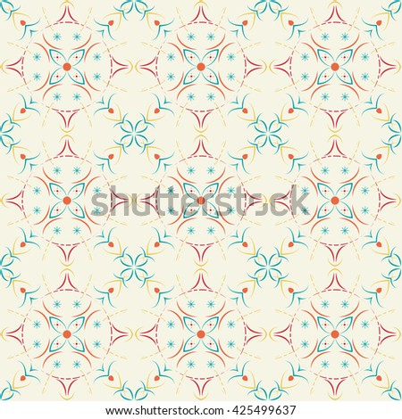 Seamless pattern of curved lines on a bright background. - stock photo