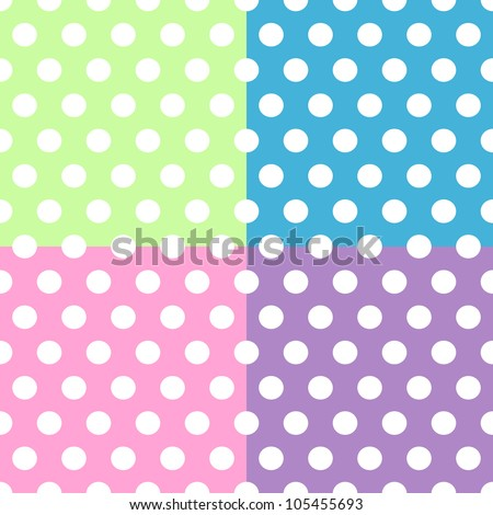 Seamless pattern of cute, fun and bold white polka dots patterns over pink, purple, green and blue squares background, can be used separately or together. - stock photo