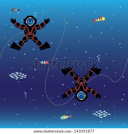 Seamless pattern of divers in deep sea - stock photo