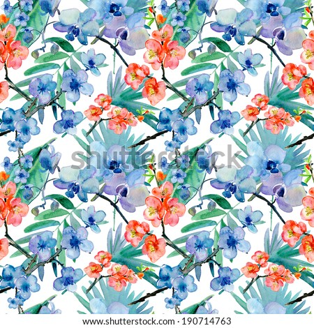 Seamless pattern of exotic flowers and leaves. - stock photo