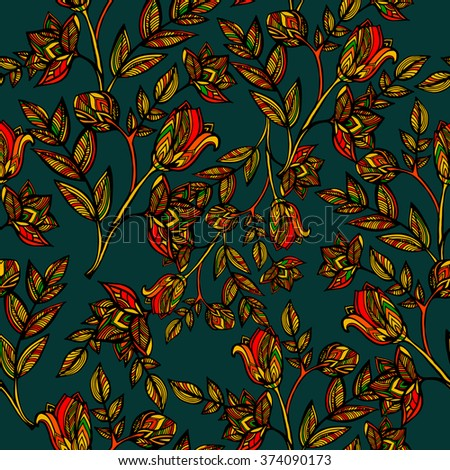 seamless pattern of flowers and leaves - stock photo