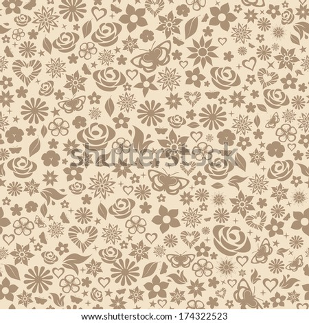 Seamless pattern of flowers, leafs, stars, butterflies and hearts. Brown on beige. Raster version. - stock photo