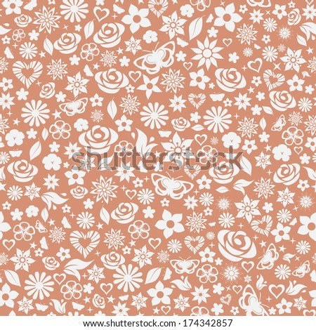 Seamless pattern of flowers, leafs, stars, butterflies and hearts. Gray on brown. Raster version. - stock photo