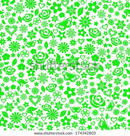 Seamless pattern of flowers, leafs, stars, butterflies and hearts. Green on white. Raster version. - stock photo