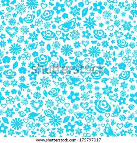 Seamless pattern of flowers, leafs, stars, butterflies and hearts. Light blue on white. Raster version. - stock photo
