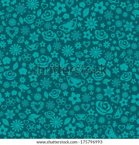 Seamless pattern of flowers, leafs, stars, butterflies and hearts. Turquoise on dark. Raster version. - stock photo
