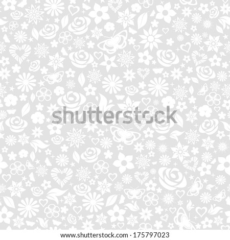 Seamless pattern of flowers, leafs, stars, butterflies and hearts. White on gray. Raster version. - stock photo