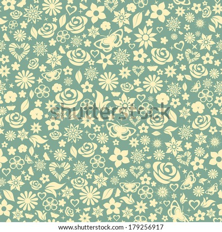 Seamless pattern of flowers, leafs, stars, butterflies and hearts. Yellow on turquoise. Raster version. - stock photo