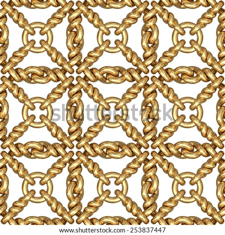 Seamless pattern of gold wire mesh or fence on white background. High resolution 3D image - stock photo