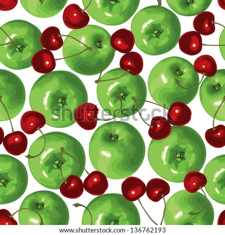 Seamless pattern of green apple and cherries - stock photo
