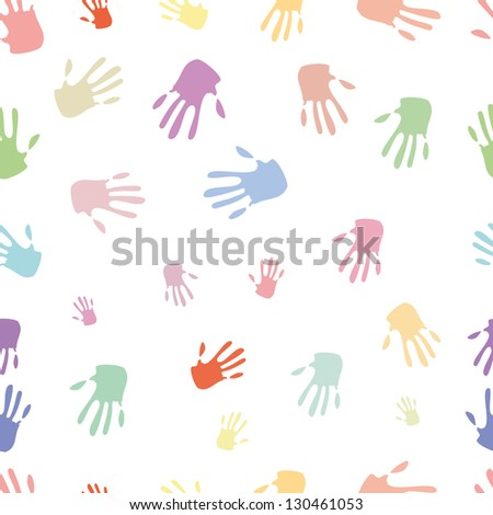 Seamless pattern of hand, bright colours - stock photo