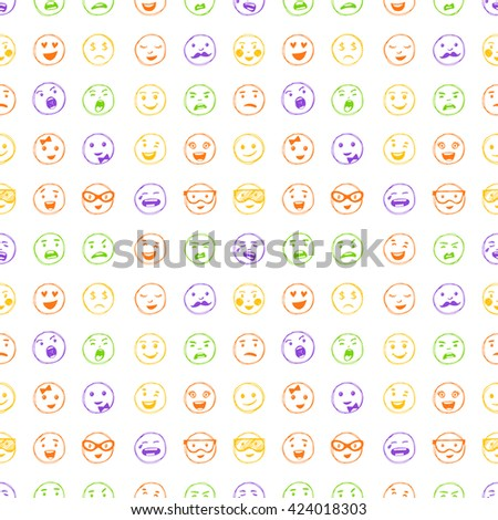 Seamless pattern of hand drawn color lines smiles. Elements for emotion, internet web icons. - stock photo