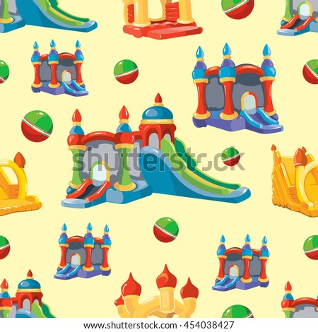 seamless pattern of inflatable castles and children hills on playground. Pictures isolate on light background - stock photo
