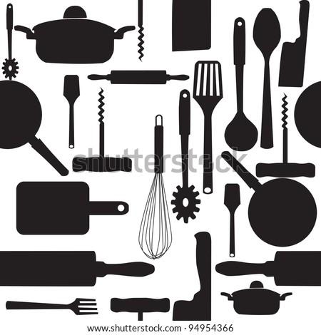 seamless pattern of kitchen tools. Raster version. - stock photo