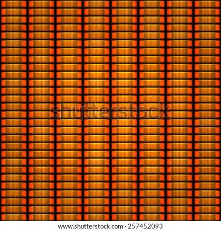 Seamless pattern of orange token coin stacks - stock photo