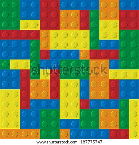 Seamless pattern of plastic building blocks.Raster version - stock photo