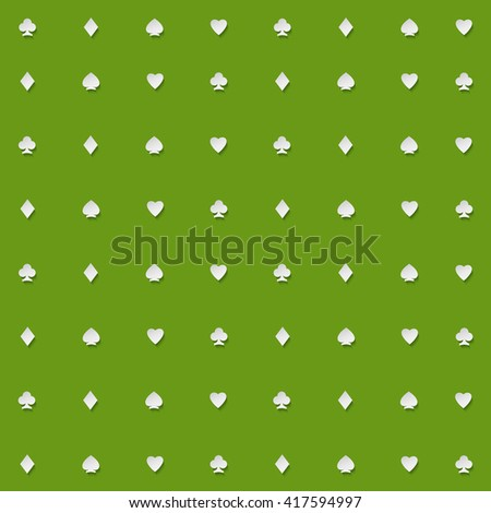 seamless pattern of playing card suits on green backdrop. background design. hearts, spades, diamonds and clubs symbol. casino and poker rooms wallpaper - stock photo