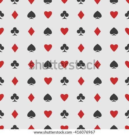 seamless pattern of playing card suits on white. background design. hearts, spades, diamonds and clubs symbol. casino and poker rooms wallpaper - stock photo