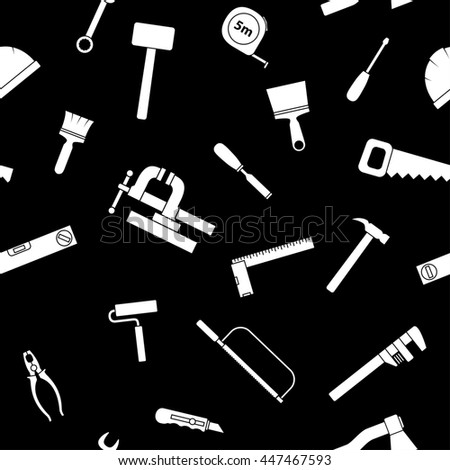 Seamless pattern of repair tool icons. Home repair signs. Worker tools. Isolated on white background. Raster version. - stock photo