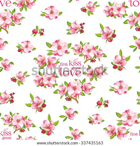 Seamless pattern of Sakura blossom, Japanese flowering cherry in a various arranged. It can be used for textile wallpaper,  wedding invitation, mother's day or tiles - stock photo