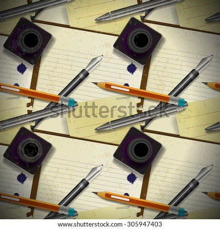 Seamless pattern of stationery, ink and notepad - stock photo