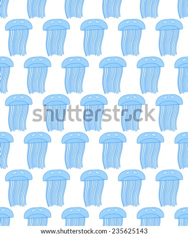 Seamless pattern of the jellyfish icons - stock photo