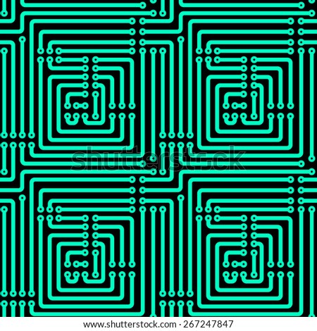 Seamless pattern of the printed circuit board - stock photo