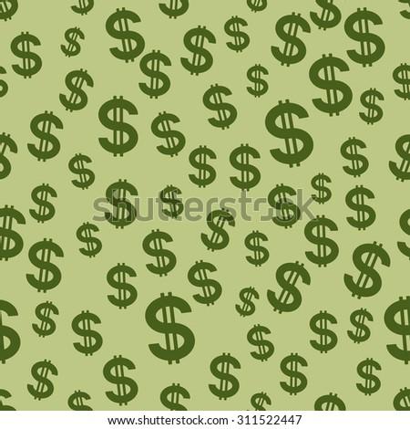 Seamless pattern of the US dollar symbols - stock photo