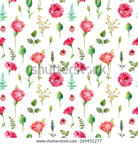 Seamless pattern of watercolor red roses. Illustration of flowers. Vintage. Can be used for gift wrapping paper, the background of Valentine's day, birthday, mother's day and so on. - stock photo