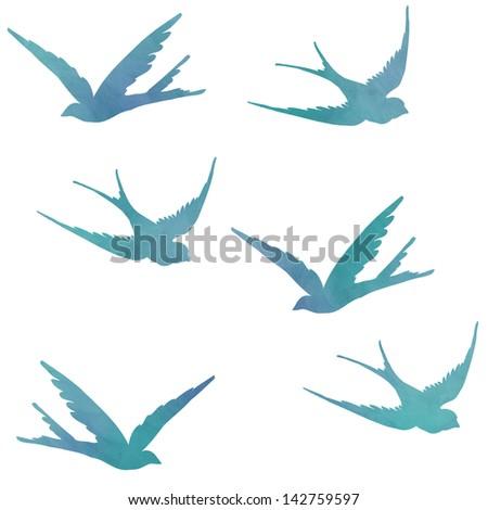 Watercolor Bird Flying Flying Birds Isolated on