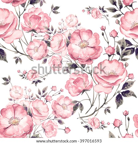 Seamless pattern of wild rose X. The pattern of watercolor sketches by hand. Beautiful background for your design and decoration - stock photo